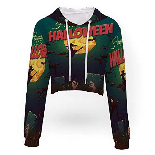 Drawstring Crop Top Hoodie,Halloween,Sweatshirt Crop Top Hoodies