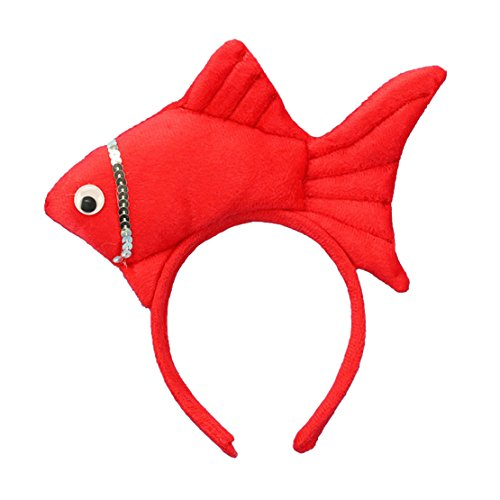 Fish Headband Costume (Lucky God Animal Fish Headbands Hair Accessory for Party Dress (Red))