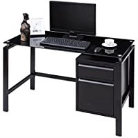 Tangkula Computer Desk Home Office Glass Top Metal Frame Workstation with Drawer Compact Writing Table