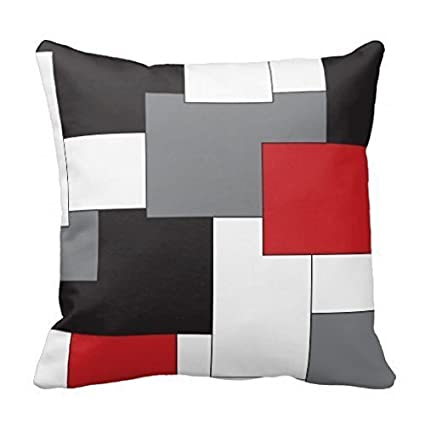 Amazon Com Acelive 18 X 18 Colorblock Red Black Gray White