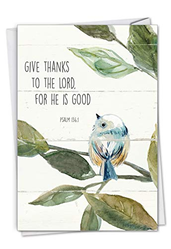 Scripture Birds, Psalm 136:1: Thank You Greeting Card Featuring Songbirds Perched Reading Biblical Verse, with Envelope. C7108ETYG