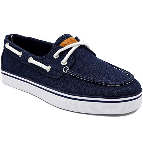- Nautica Men's Galley Lace-Up Boat Shoe,Two-Eyelet Casual Loafer, Fashion Sneaker-Galley-Navy Washed Denim-7.5