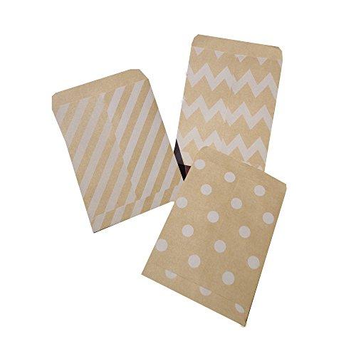 Vazuda 30pcs 4.53x3.54inch+0.55inch Greeting Cards Kraft Envelopes Small Gift Wrap Bags Chevron Stripe Dots Party Favor Gift Paper Bag (Stripes Rsvp Card)