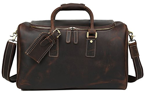 Polare Real Leather Vintage Travel Luggage Duffle Bag /Gym Bag/ Overnight bag by Polare (Image #1)