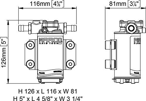 marco Bomba de achique trasvase de 12/V UP2/12/V gas/óleo de L//min barco n/áutica