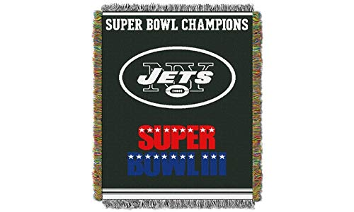 "Northwest 051 Series NFL New York Jets Commemorative Woven Tapestry Throw, 48"" x 60"", Green"