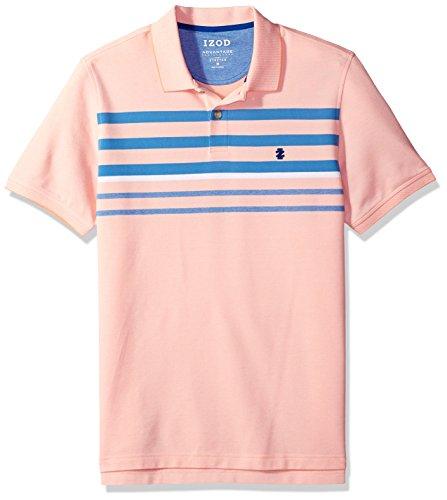 (IZOD Men's Advantage Performance Short Sleeve Stripe Polo, Papaya Punch/Orange, Large)