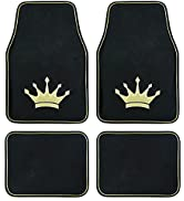 August Auto Universal Fit Royal Crown Set of 4pcs Carpet Car Floor Mats with Heelpad Fit for Seda...