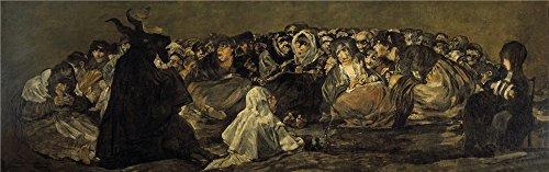 Oil Painting 'Goya Y Lucientes Francisco De Aquelarre Or The Witches Sabbath 1821 23' 10 x 32 inch / 25 x 81 cm , on High Definition HD canvas prints - Orange Optical $25 Texas