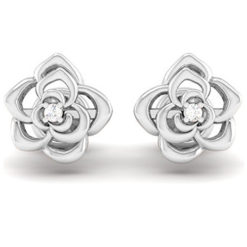Dazzlingrock Collection 0.02 Carat (ctw) 14K Round Cut White Diamond Ladies Flower Shaped Stud Earrings, White Gold