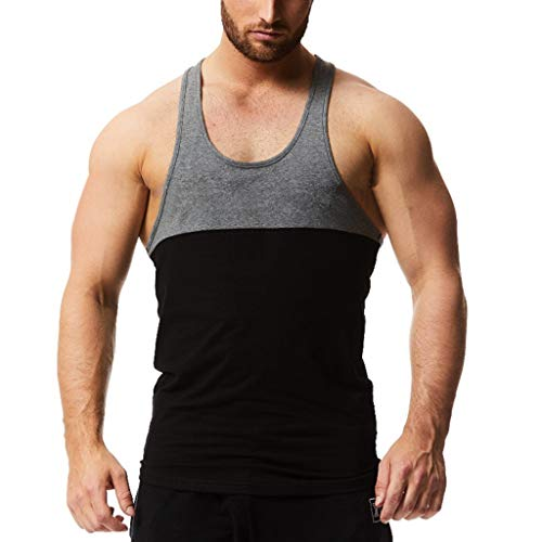 - Men's Tank Top,Sleeveless Blouse Color Block Vest Stripe Sports Shirt Striped Splice Tunic Workout Fitness Tee