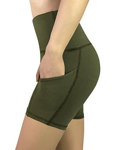 REETOYO Women's High Waist Tummy Control Workout Running 4 Way Stretch Yoga Shorts Side Pockets, Olive, Medium
