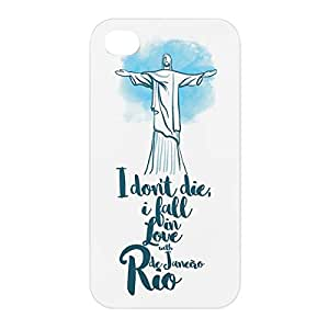 Loud Universe Apple iPhone 4/4s 3D Wrap Around Rio Print Cover - White/Blue