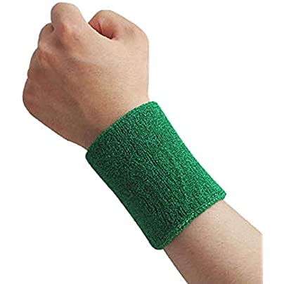 Momangel Sports Wristband Breathable Wrist Support Protector Sweatband for Tennis Basketball Badminton Green Estimated Price £1.17 -