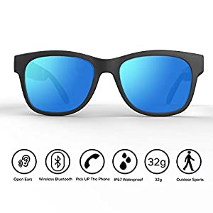 Bone Conduction Sunglasses 4.1 Wireless Bluetooth Stereo Headphones Polarized Sunglasses Accepted Compatible with Smart Phone Iphone HTC LG Samsung Android Windows (Blue)