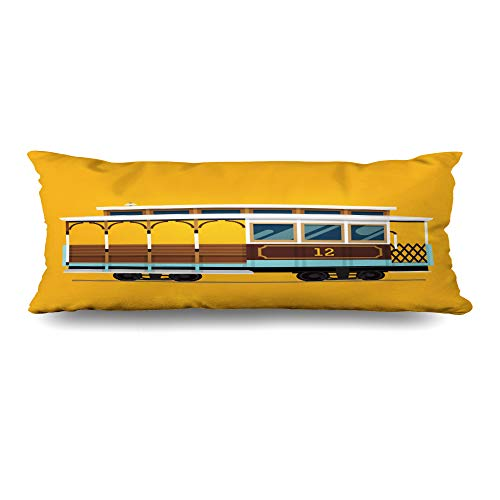 Ahawoso Body Pillows Cover 20x54 Inches Classic San Lovely Retro Detailed Cable Car Francisco Trolley Tram Transit Passenger Flat Fare Decorative Cushion Case Home Decor Pillowcase