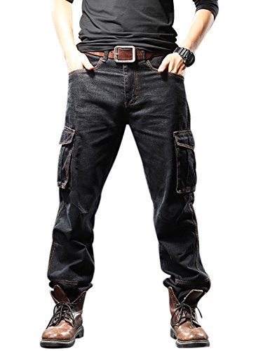 Yeokou Men's Casual Loose Hip Hop Denim Work Pants Jeans with Cargo Pockets Cargo Jeans (36, Black) -