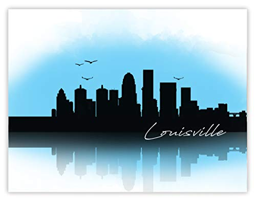 Louisville Skyline Drawing - 11 x 14 Unframed Print - Great Gift for Anyone Who's Heart is in Kentucky - Beautiful Cityscape for Home Office Decor - Architect, Banker and Interior Designer Gift