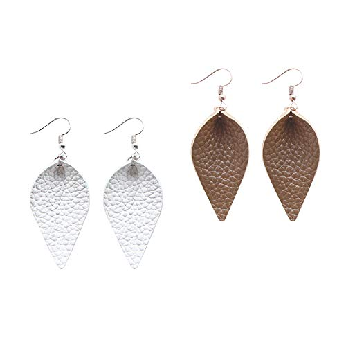 (Me&Hz 2 inch Small Leather Earrings Leaf for Women Joanna Gaines Inspired Brown and White Genuine Leather Dangle Drop Earrings Set)