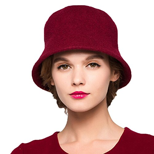"Maitoseâ""¢ Women's Simple Wool Felt Bucket Hat Wine Red"
