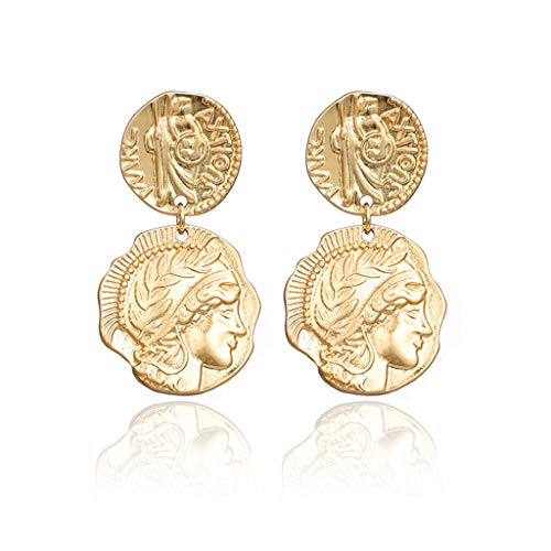 (Hukai Antique Gold Medusa Coin Portrait Baroque Drop Earrings Women Fashion Jewelry)