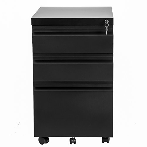 Merax 3 Drawer Mobile File Cabinet with Keys Fully Assembled Except the Wheels (black)