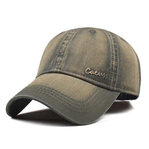 CACUSS Men's Washed Cotton Classic Baseball Cap with Adjustable Buckle Closure Dad Hat(Olive)