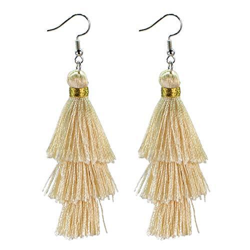 (AD Beads Fashion Charm Crystal Silk Tassel 3 Layers Fan Fringe Dangle Earrings (06 Beige))