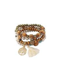Lureme Vintage Wood Beads Multi Strand Stretch Bracelet Set Life Tree Tassel Charms (bl003185)