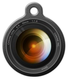 Camera Lens Pet ID Tag for Dogs and Cats - Dog Tag Art - LARGE SIZE by Dog Tag Art