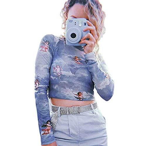 (ULIAN Women's Long Sleeve Sheer Mesh Blouse Sun Moon Stars Little Angel Printed Slim Fit Sexy Top (Blue,M))