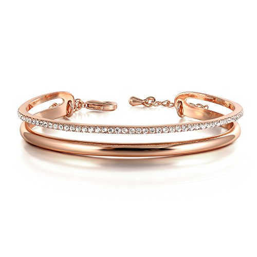 THEHORAE Rose Gold Bracelet for Women 'Timeline' Cuff Bangles Jewelry, Crystal from Swarovski
