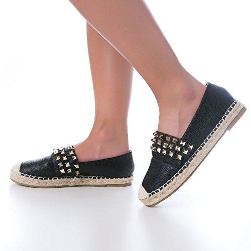 MForshop Nero borchie corda eco zeppa donna N17 15 Espadrillas pelle scarpe fondo CTrSC