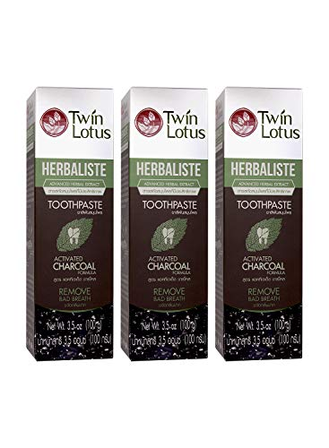 TWIN LOTUS Active Charcoal Toothpaste Herbaliste-Activated Coconut Charcoal Powder - Triple Action Formula - Natural Teeth Whitener - Eliminates Bad Breath- Herbal Whitening - Black - 100g PACK OF 3