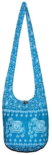 Purse Elephant inch Bohemian Crossbody Hippie 33 Bag Blue Vintage Hobo Light with npwRpTYq