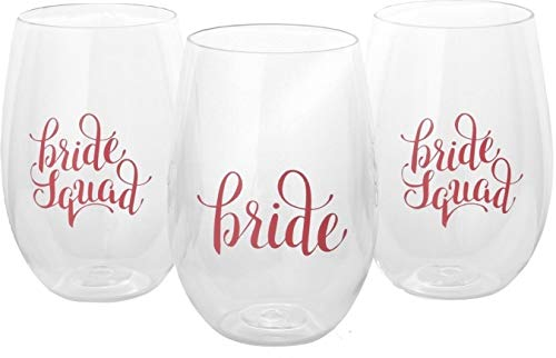 Bachelorette Party Cups - 8 Piece Set of Bride Squad and Bride - Durable Plastic Stemless Wine Cups for Bachelorette Parties, Decorations, Weddings, Gifts, Bridal Showers, and Engagement Parties by Bride Squad