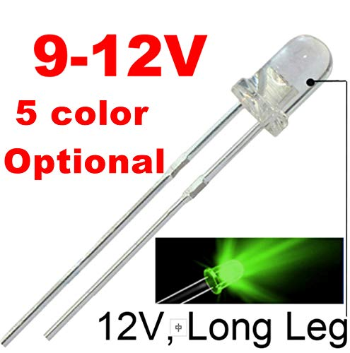 50pcs 12V 3mm Green LED -