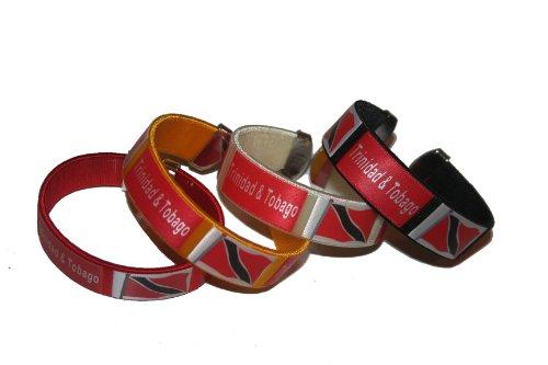 4 Trinidad & Tobago Country Flag THICK C' Bracelet Wristband.. (Trinidad Wristband)