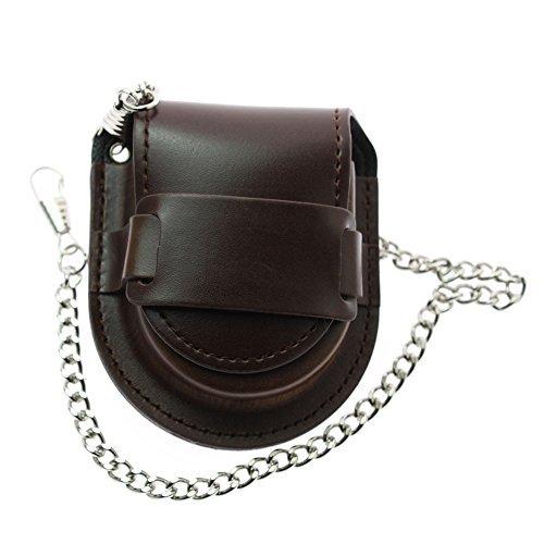 LYMFHCH Bronze Leather Chain Pocket Watch Holder Storage Case Box Coin Purse Pouch Bag (Brown) (Leather Pocket Watch Holder)