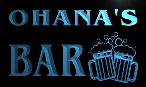 w075608-b OHANA'S Name Home Bar Pub Beer Mugs Cheers Neon Light Sign (Ohana Bar)