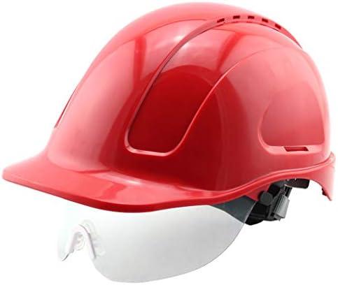 XINGZHE ヘルメット耐圧衝撃性高温ガラス製鉄所建設現場ヘルメット多色保護ヘルメット通気性 安全ヘルメット (Color : Red)