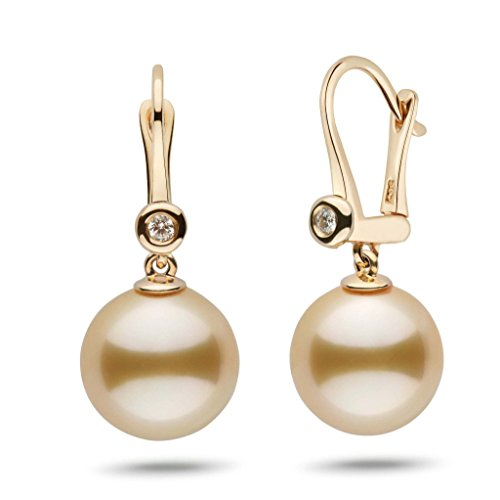 Romantic Collection Golden South Sea 12.0-13.0 mm Cultured Pearl & Diamond Dangle Earrings 14K Yellow Gold - Diamonds 13mm South Sea Pearl