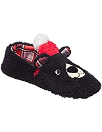 Womens Sherpa Holiday Bear and Bunny Slippers