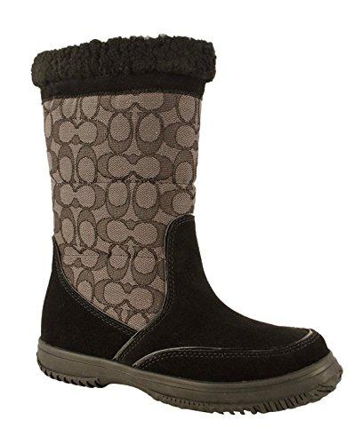Coach Women's Sherman Signature Cold Weather Boot,Black/Black Smoke,8 - Women Coach Boots