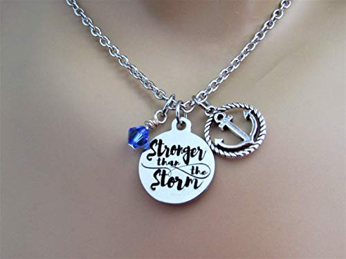 Stronger Than The Storm Stainless Steel Laser Engraved Circle Necklace With Silver Anchor Charm and Swarovski Crystal Motivational Recovery Strength Necklace