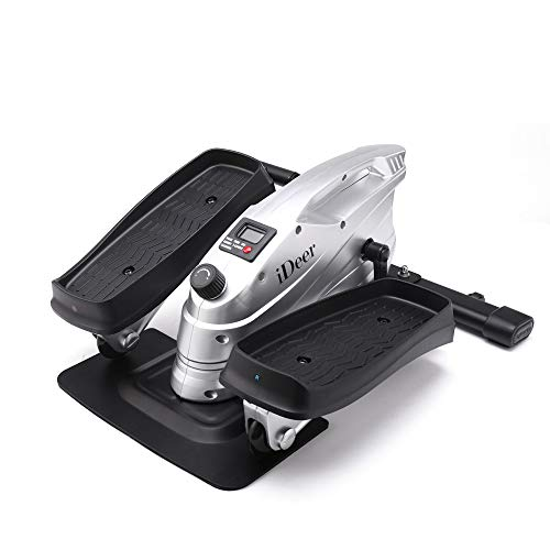 IDEER LIFE Under Desk&Stand Up Exercise Bike,Mini Elliptical Trainers Stepper Pedal w/Adjustable Resistance and LCD Display,Fitness Exercise Peddler for Home&Office Workout (Silver 09025)