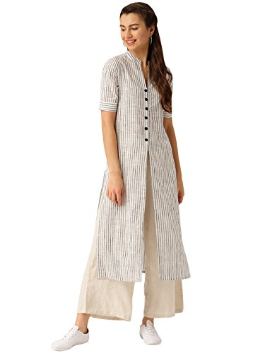 Desi Fusion Women Indian Casual Tunic Top Striped Straight Crepe Kurta (White & Black) by Desi Fusion