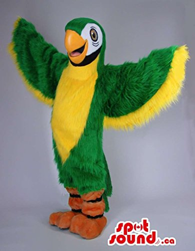 [Green And Yellow Parrot Bird Plush Mascot SpotSound US With Large Wings] (Parrot Costume Wings)