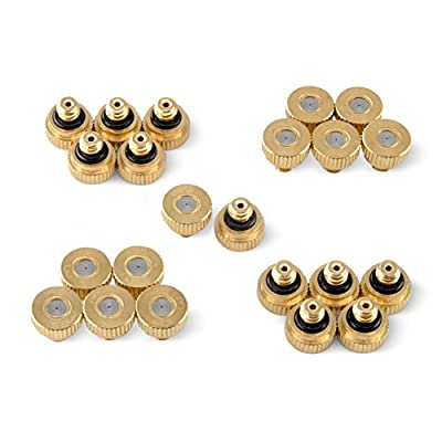 "Aootech Brass Misting Nozzles for Outdoor Cooling System 22 pcs,0.012"" Orifice (0.3 mm) 10/24 UNC"