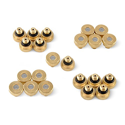 "Aootech Brass Misting Nozzles For Outdoor Cooling System 22 pcs,0.012"" Orifice (0.3 mm) 10/24 UNC By"